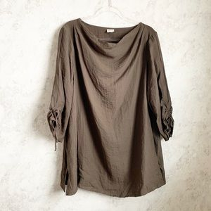 Et Lois 1X Lagenlook Brown Tunic Top Shirt Cinch